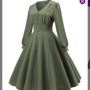 Green Puff-Sleeve Button-Front Fit and Flair Dress